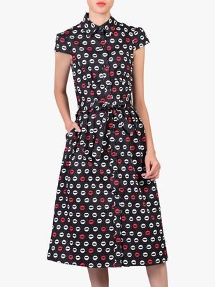 Jolie Moi Lip Print Shirt Dress, Black