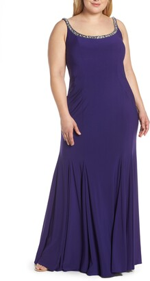 Mac Duggal Jeweled Neck Lace-Up Back Jersey Gown