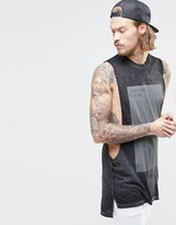 Asos Longline Sleeveless T-Shirt With Block Print And Burn Wash
