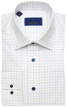 David Donahue Regular Fit Large Check Dress Shirt (White/Green) Men's Clothing