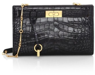 Tory Burch Lee Radziwill Croc-Embossed Leather Shoulder Bag