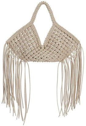 Yuzefi Small Fringe-Trimmed Macrame Basket Bag