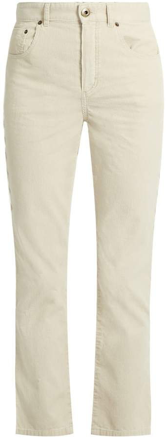 Chloé Scalloped-seam cropped corduroy trousers