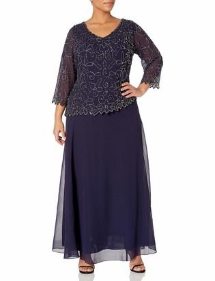 J Kara Women's Plus Size V-Neck with 3/4 Sleeve Long Dress