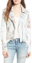 Blank NYC Women's Blanknyc Embroidered Denim Moto Jacket