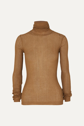 Bottega Veneta Ribbed Cotton-blend Turtleneck Sweater - Camel
