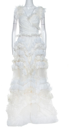 Dolce & Gabbana Off White Silk Feather Trim Ruffle Detail Gown M