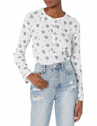 Lucky Brand Women's Long Sleeve Printed Pointelle Henley Top