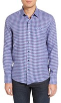 Zachary Prell Men's Althoff Trim Fit Plaid Linen Sport Shirt