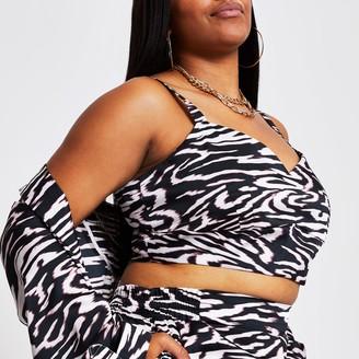 River Island Womens Plus Black sleeveless animal print bralet top