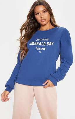 PrettyLittleThing Midnight Blue Emerald Bay Slogan Sweater