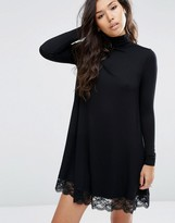 Asos Swing Dress with Lace Hem and Turtleneck