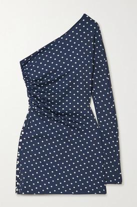MARCIA Nour One-sleeve Polka-dot Stretch-econyl Mini Dress - Navy