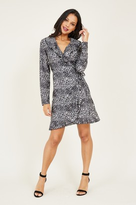 Yumi Grey Leopard Print Wrap Dress