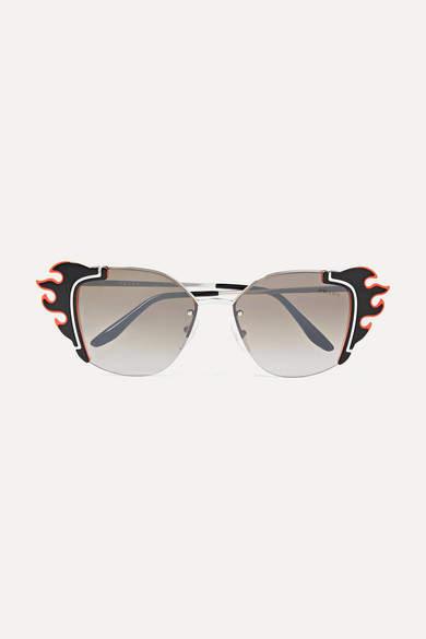 Prada Embellished Cat-eye Acetate And Silver-tone Sunglasses - Black