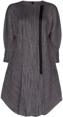 Pleats Please Issey Miyake Pinstripe Pleated Coat