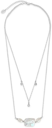 Sterling Forever Rhodium Plated Bezel CZ and Pearl Layered Necklace