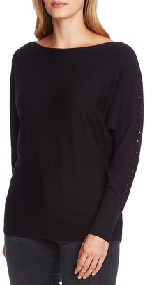 Vince Camuto Crystal Embellished Sleeve Cotton Blend Sweater