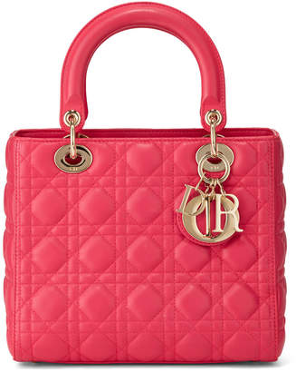 Christian Dior Lady Quilted Leather Small Tote Bag, Pink