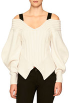 Burberry Off-the-Shoulder Corset Sweater, Natural White