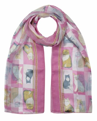 Cloud9basic Animal Cat Pattern with footprint Satin Stripe Scarf