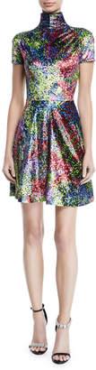 Calvin Klein Turtleneck Short-Sleeve Art-Print Fit-and-Flare Mini Dress