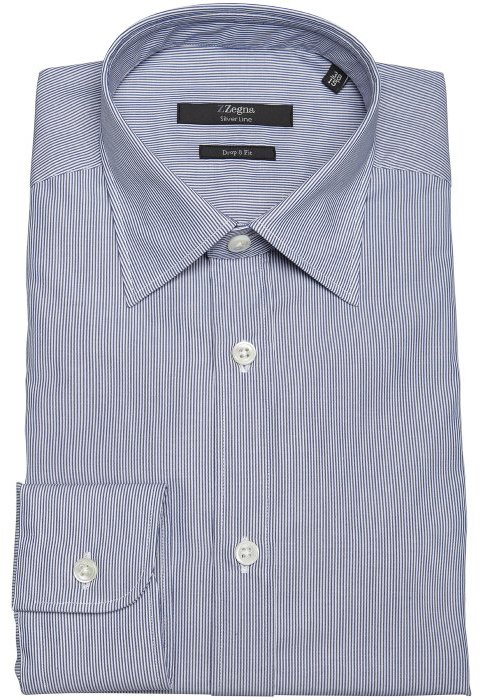 Z Zegna navy and white pinstripe cotton spread collar dress shirt