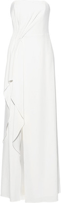 Halston Strapless Draped Crepe Gown