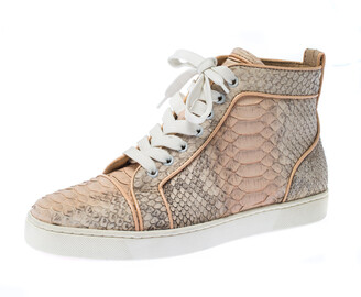 Christian Louboutin Pink Python Leather Louis Orlato Lace Up Sneakers Size 38.5