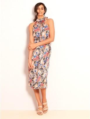 M&Co VILA floral halterneck midi dress