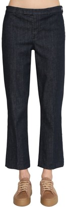 Flared Cotton Blend Denim Pants