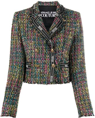 Versace Jeans Couture Tweed Logo Trim Jacket
