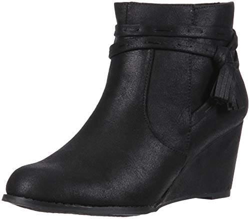 c853301327114 HIYA Women's Casual Platform Wedge Heel Ankle Boot with Side Tassels, 7  Medium US
