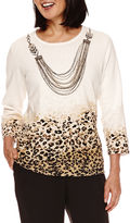 Alfred Dunner Madison Park 3/4-Sleeve Sweater with Necklace