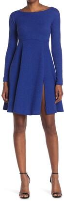 Velvet Torch Ribbed Knit Fit & Flare Dress
