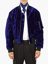 Haider Ackermann Blue Crushed Velvet Bomber Jacket