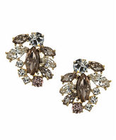 Marchesa Goldtone Brass Cluster Button Earrings