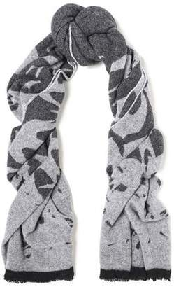 McQ Fringe-trimmed Wool-blend Jacquard Scarf