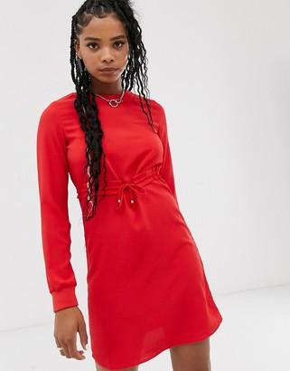 Noisy May long sleeve shift dress-Red