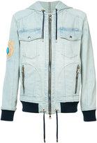 Balmain badge embroidered denim jacket