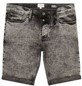 River Island Black Acid Wash Skinny Fit Denim Shorts