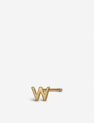 Otiumberg W initial 9ct gold stud earring