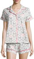 BedHead Butterfly-Print Shorty Pajama Set, Black/Pink