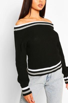 boohoo Off The Shoulder Stripe Crop sweater