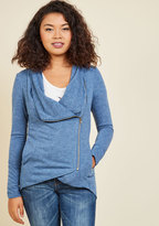 ModCloth Airport Greeting Cardigan in Blue in M