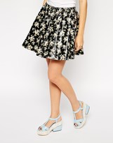 Dahlia Leather Look Skirt In Floral Print