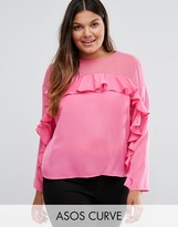 Asos Ruffle Top in Satin with Sheer Panel