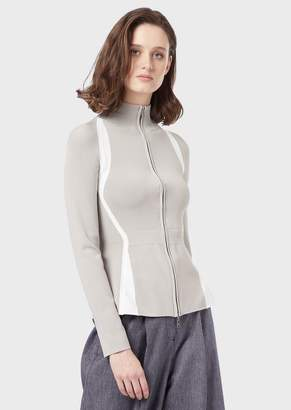 Emporio Armani Stretch Cardigan With Full-Length Zipper And Inlays