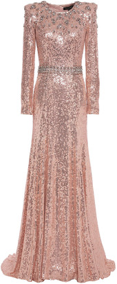 Jenny Packham Crystal-embellished Sequined Georgette Gown