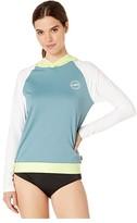 O'Neill Print Long Sleeve Hoodie (Euca/White/Eleclime) Women's Swimwear